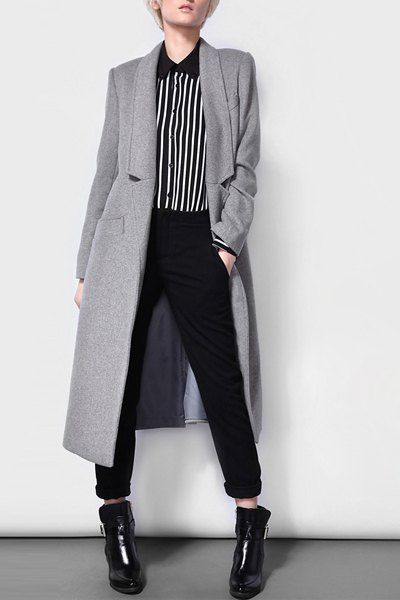 Stylish Lapel Long Sleeve Solid Color Wo…
