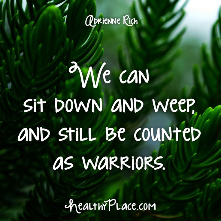 Quote: We can sit down and weep and still be counted as warriors. -Adrienne Rich. www.HealthyPlace.com