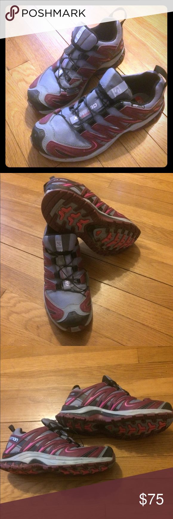 Salomon trail shoe XA PRO 3D CS Water Proof wmns Trail running or light hiking shoe. Sold in box. Only sign of wear is some dirt on soles. Shoe are water proof and feature salomons quick lace. Salomon Shoes Athletic Shoes
