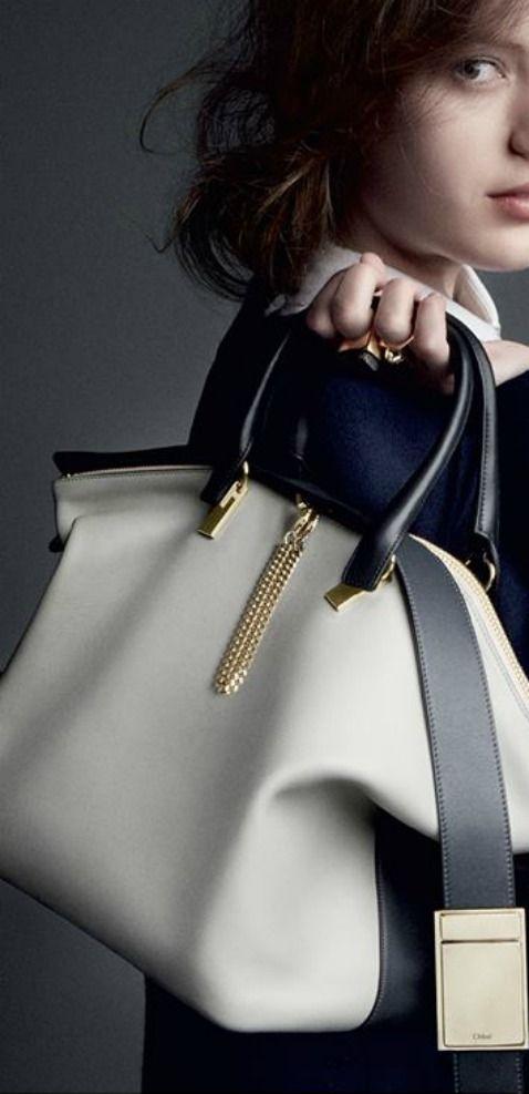 Chloé ~ Black + Ivory Leather Satchel 2014