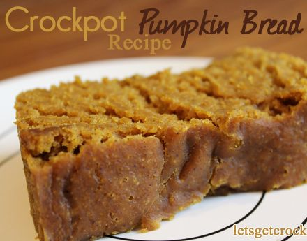 This is the best pumpkin bread recipe EVER!!!!  It's so moist and all done in the crockpot!!  I bet I can lighten it up a bit!!!
