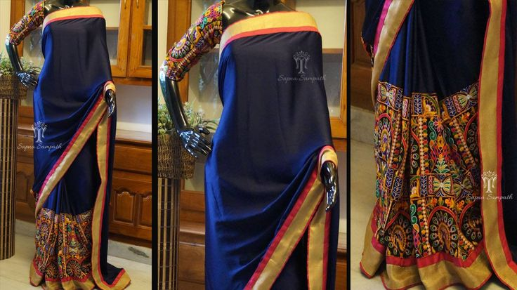 CUSTOMIZED SAREE CODE : TR770 : Navy blue-pink combo kutch work saree Navy blue chiffon saree having multishaded pink kutchwork. Saree can be paired with a kutch bp. 13 May 2016