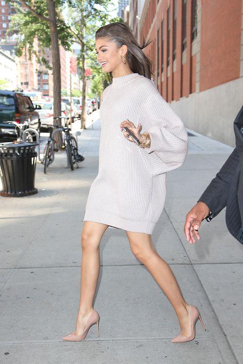 Oversize sweater dress + nude heel.