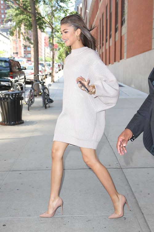 Oversize sweater dress + nude heel.