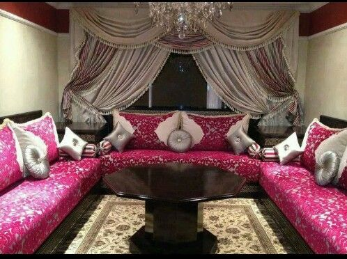 Luxury Style Living Room Curtain Styles With Beautiful Silk Shimmer Fabric Fuchsia Sectional Sofa Set And Grey Cushions