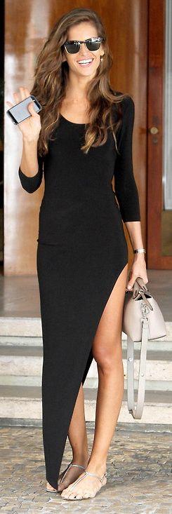 Black maxi dress street style