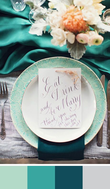 Tablescape of Hemlock, Turquoise, Deep Teal & Pale Grey: new colors for 2014