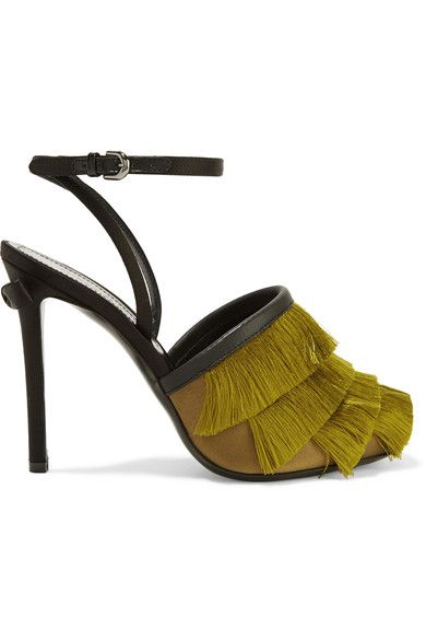 Marco De Vincenzo - Leather-trimmed Fringed Satin Sandals - Chartreuse - IT35.5