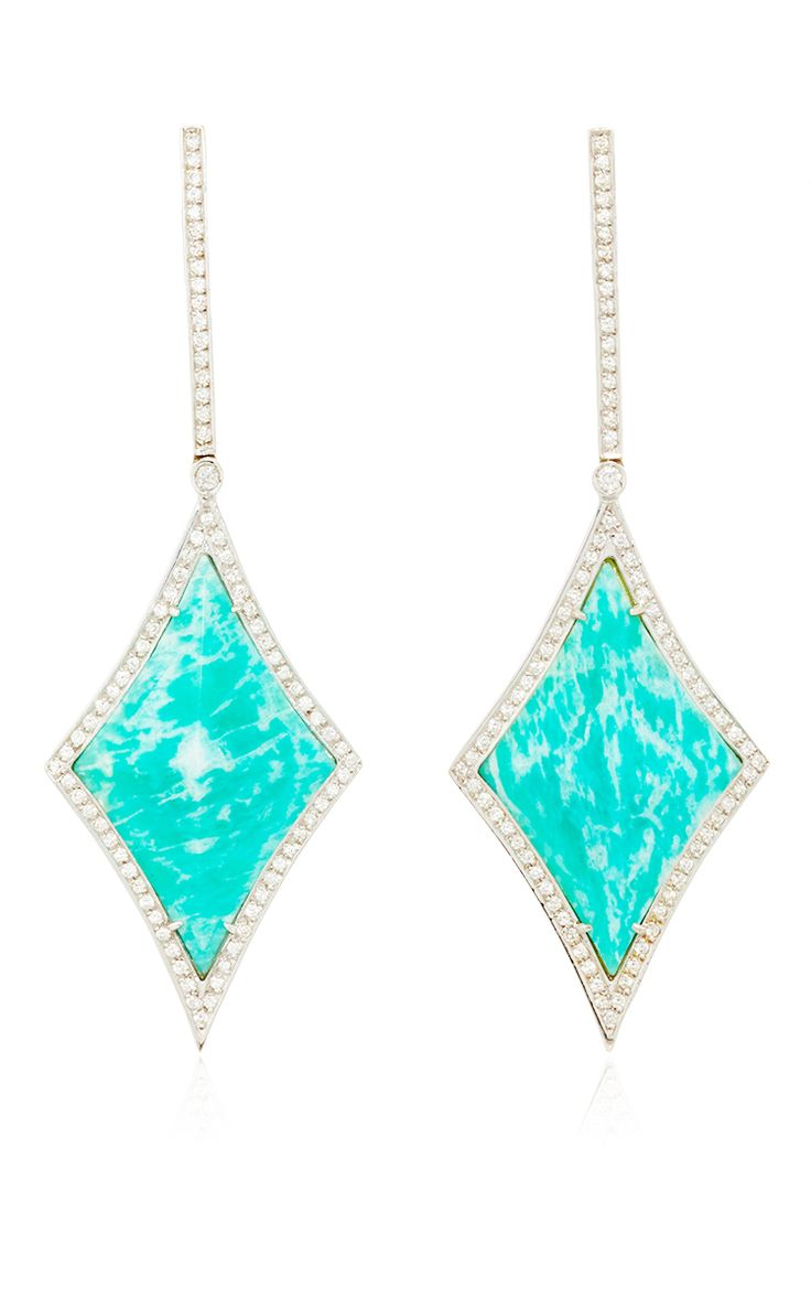 These Vibrant One Of A Kind Drop Earrings By Ana Khouri Are Rendered In  White Gold