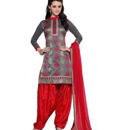Buy Grey Embroidered Santoon unstitched salwar with dupatta collar-neck-design online