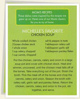 michelle wahlberg favorite chicken soup | ingredients whole cooked chicken 3 boxes chicken stock 1 whole onion 1 ...