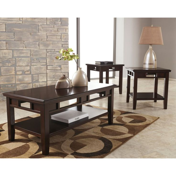 Signature Design by Ashley Logan 3 Piece Occasional Table Set - FSD-TS3-37DB-GG