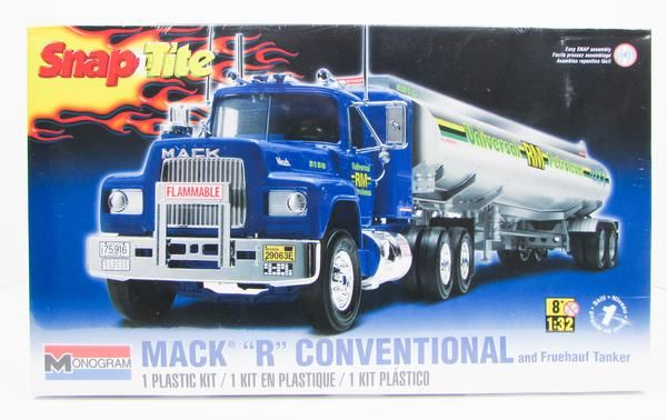 "This Mack ""R"" Conventional with Fruehauf Trailer truck model kit is part of the made by Revell in 1/32 scale. - Snap together assembly - no glue needed - Traile"