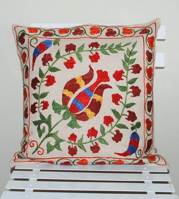 Handwoven Embroidered Silk Suzani Suzeni  Pillow Cover Tulip Design  Decorative Pillow Vintage Pillow Throw Pillow