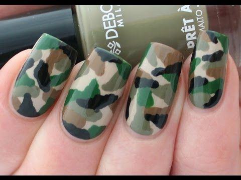 Tutorial: Camouflage Nail Art Manicure - YouTube