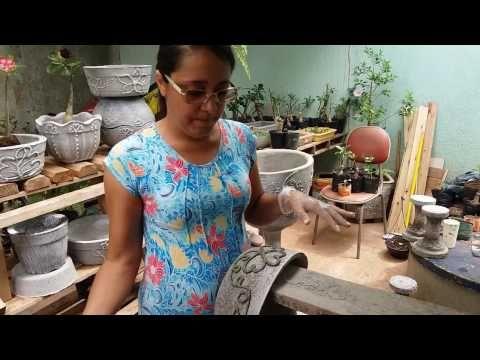 Rosi decorações em vaso de cimento. - YouTube