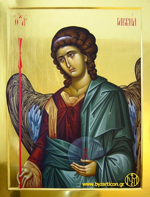 Archangel Gabriel icon, egg tempera, water gliding technique, wood panel with raised border - http://www.byzarticon.gr/en/iconography-gallery-byzantine-art/portable-icon-byzantine-art/angels/159-forites-arxaggelos-gabriel-1.html