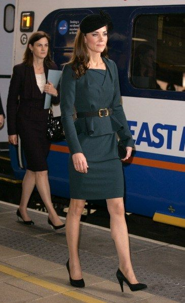LEICESTER, UNITED KINGDOM - MARCH 08: (EMBARGOED FOR PUBLICATION IN UK NEWSPAPERS UNTIL 48 HOURS AFTER CREATE DATE AND TIME) Catherine Duchess of Cambridge arrives at Leicester Train Station as she accompanies Queen Elizabeth II and Prince Philip, Duke of Edinburgh on a visit to Leicester on the first date of Queen Elizabeth II's Diamond Jubilee tour of the UK on March 8, 2012 in Leicester, England. (Photo by Indigo/Getty Images)