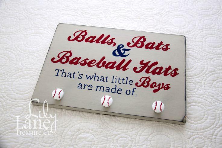 Balls, Bats & Baseball Hats Hat Rack, Vintage Baseball, Baseball Nursery, Boys Room Decor, Wall Decor, Rustic Baseball by LilyLaneTreasureCo on Etsy https://www.etsy.com/listing/197670649/balls-bats-baseball-hats-hat-rack