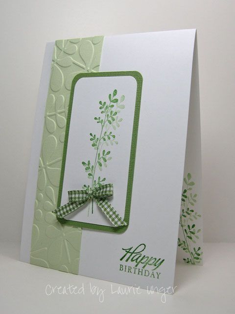 lovely handmade card ... white and geeen ... clean lines ... a bit of embossing folder texture, a bow, a sentiment and a stamped fern frond ...