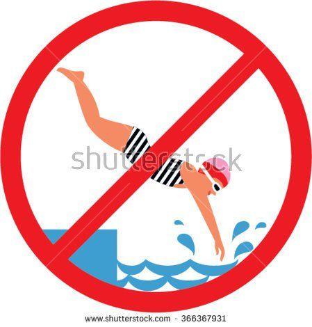 No diving sign. Swimming pool rules.