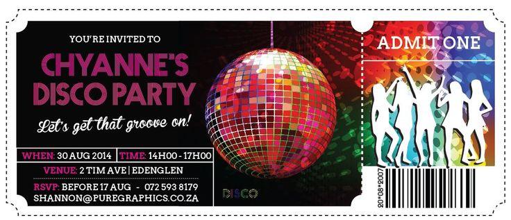 7th Birthday Party Invitation - Disco Theme