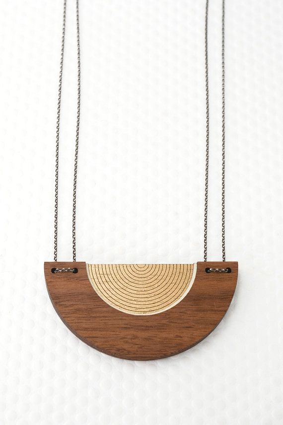 Bauhaus Circle Necklace | Hand Painted Wood | Minimalist Statement Jewelry for Her