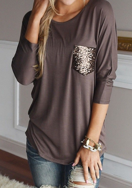 Sleek yet comfy, features with long sleeve and sequin pocket, this brown t-shirt is the perfect addition to your fall wardrobe. See more amazing items at Fichic.com !