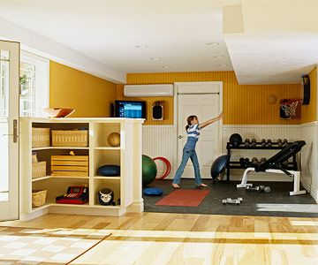 Basement remodeling ideas home workout rooms and exercise Living room gym