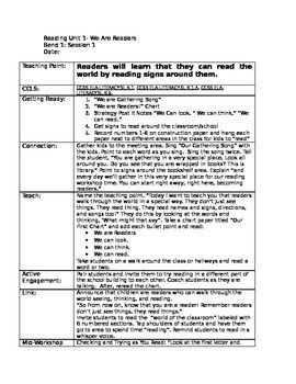 """Kindergarten Teacher's College (TC) Reading Lesson Plans Unit 1- We Are Readers Save your time on writing lesson plans! Attached are all lesson for Unit 1 """"We are Readers""""!"""