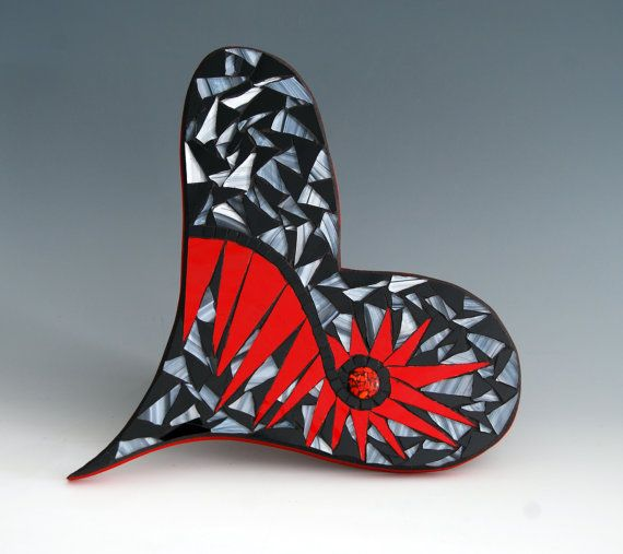 Mosaic heart made with stained glass in black and white with red water glass mirror. on Etsy, $56.00