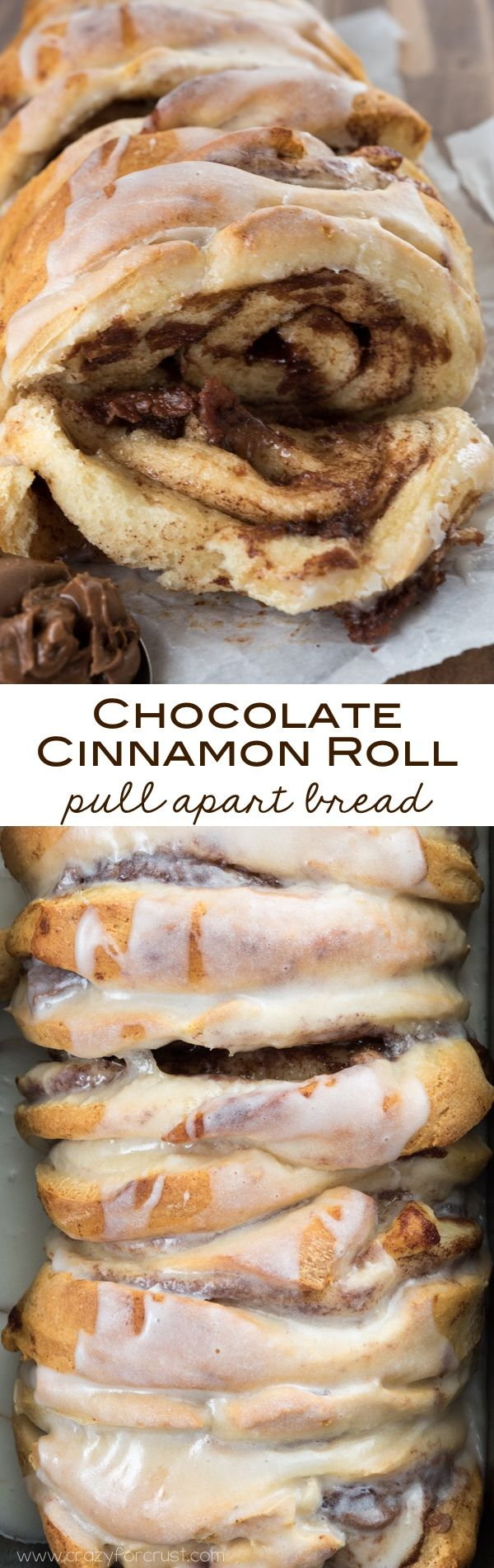 Chocolate Cinnamon Roll Pull Apart Bread | Crazy For Crust | only 2 ingredients! An easy breakfast recipe on the table in under 30 minutes.