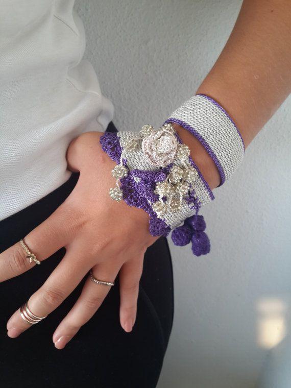 Beaded Crochet Cuff Bracelet purple gray Bracelet by SESIMTAKI