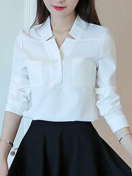 Buy V-Neck Patch Pocket Plain Blouse online with cheap prices and discover fashion Blouses at Fashionmia.com.