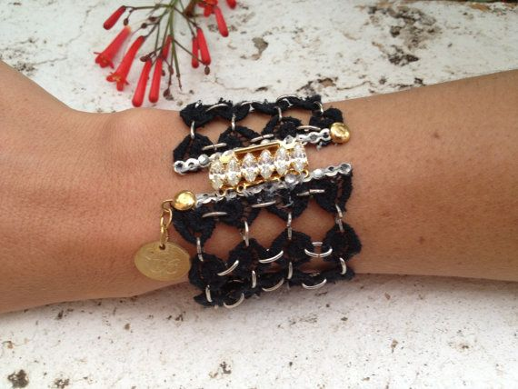 Black lace bracelet rock chic accesory with by Pulserasvictorianas, €52.00