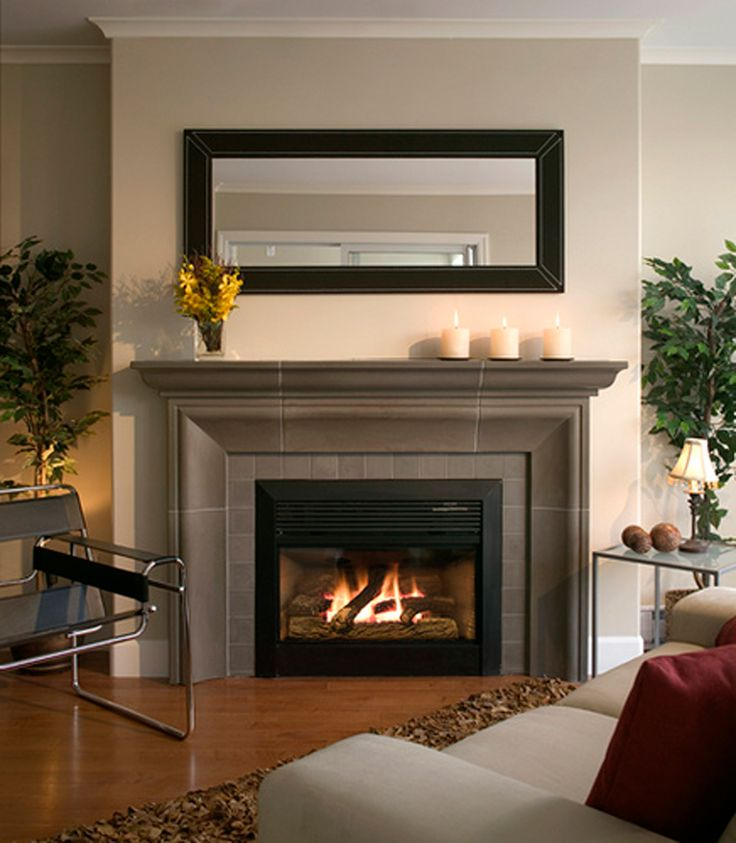 Furniture Idea 5 Fireplace Surround And Decorating Ideas Modern Cast Concrete Mantel Black Leather Mirror