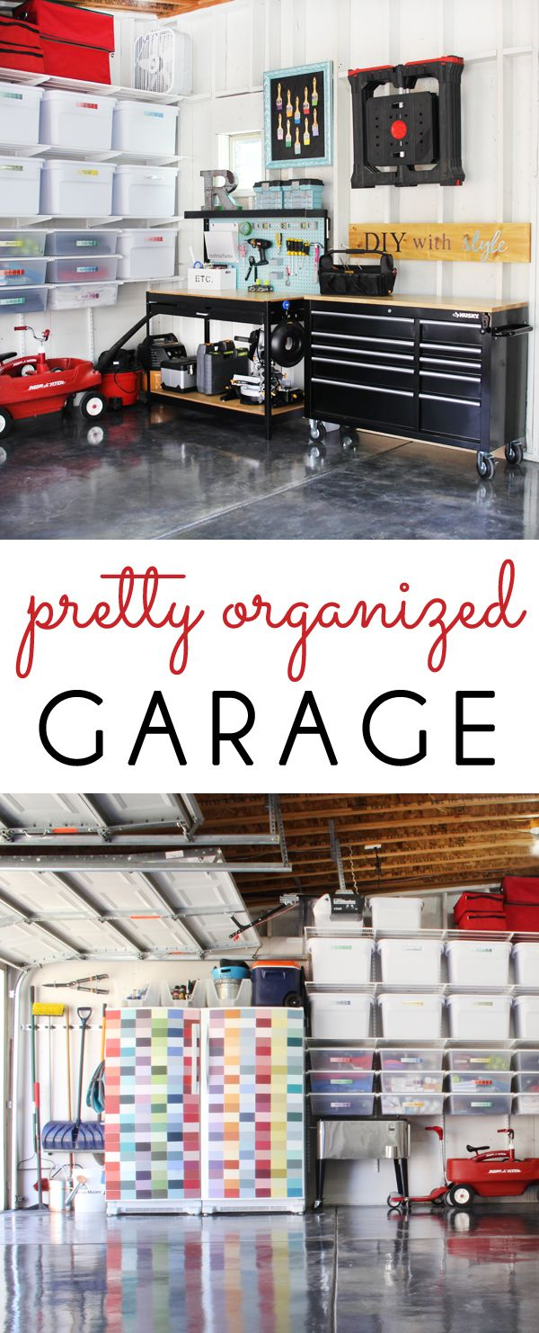 PRETTY & ORGANIZED GARAGE! Our dirty, dingy garage has become a clean, bright, organized, and pretty space. See how we did it!