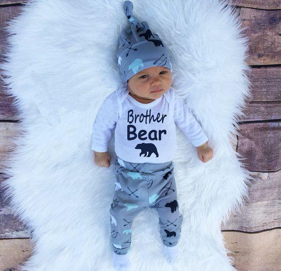 Nieuwe merk Mode brief brother bear babykleding Sets baby meisjes jongens kleding 3 stks lange mouw baby rompertjes + broek + hoed
