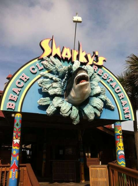 Fun Place, on the beach, but not-so-good food. Sharky's Seafood Restaurant
