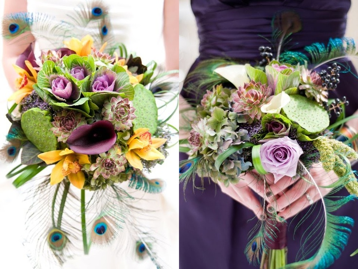 Jenna & Andy 's Autumn Plum / Peacock Feather Wedding, bouquets by White Iris Designs. #white_iris_designs #bouquets #weddings #flowers #colour #purple #white