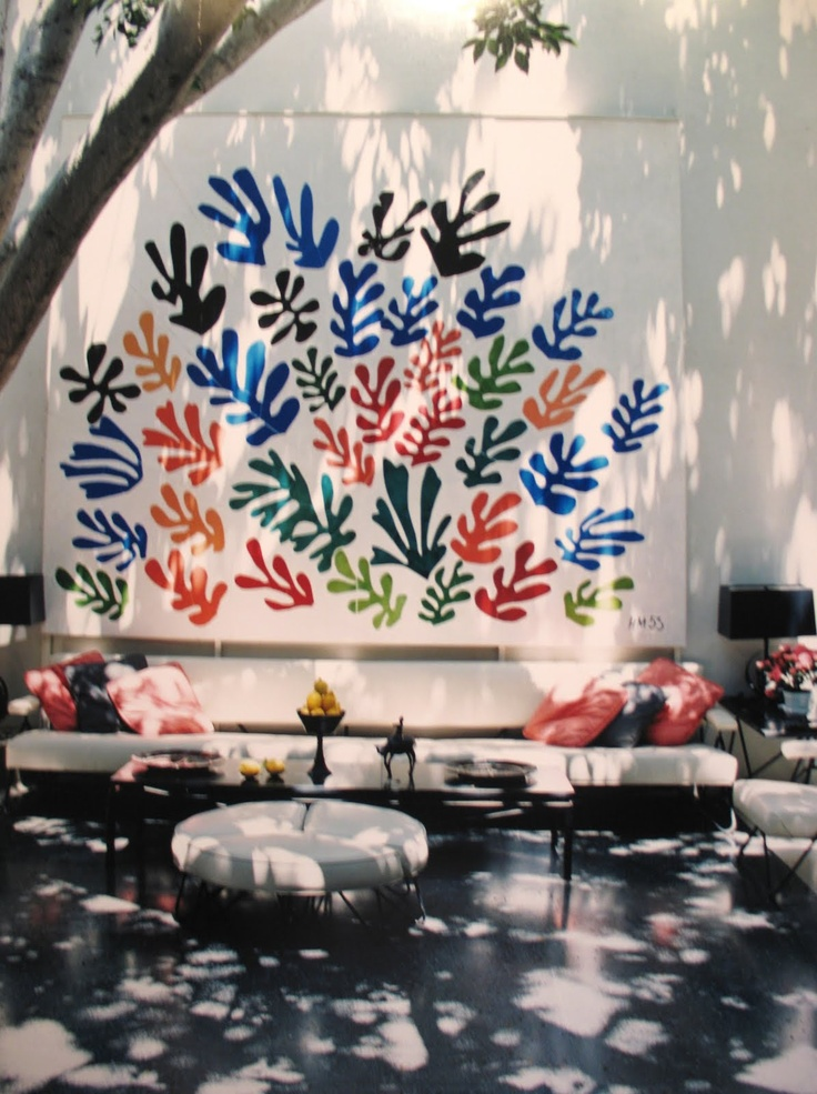 A Matisse design printed on outdoor fabric. I love that it is hung on the house outside to make an art-filled seating area in nature.
