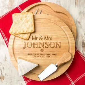 Personalised Wedding Cheese Board And Knives Set - The best wedding presents are always the ones that come from the heart, so capture the best qualities of the happy couple in your gift. Thoughtful and personalised presents for the newlyweds.