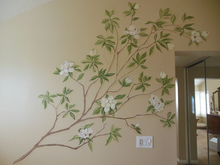 Hand painted magnolia tree on bathroom wall http for Hand painted walls