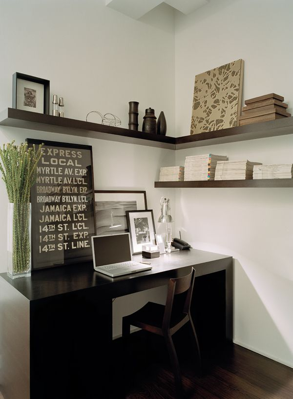 A few shelves over desk.  Nice corner shelf.