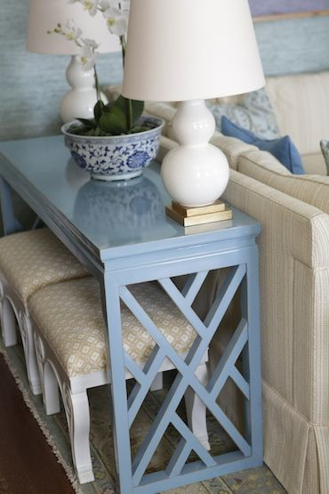 """I REALLY want a console table to create gorgeous vignettes by season and change out colors, hold extra lighting and store """"X"""" benches beneath."""