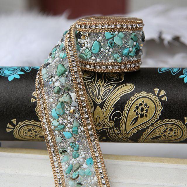 Pino verde envío libre del color 3.5*50 cm/lot Rhinestone cadena Torta Cinta Recorte Decoración de La Boda de costura accesorios