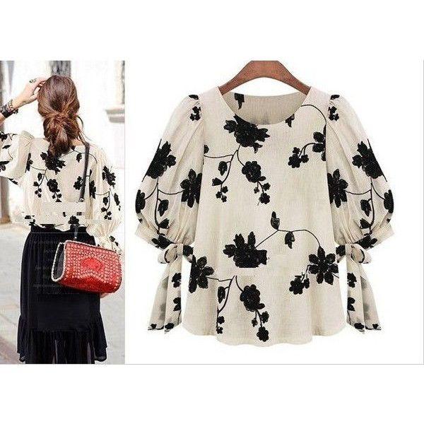 大人かわいい花柄刺繍ブラウス韓国ファッション