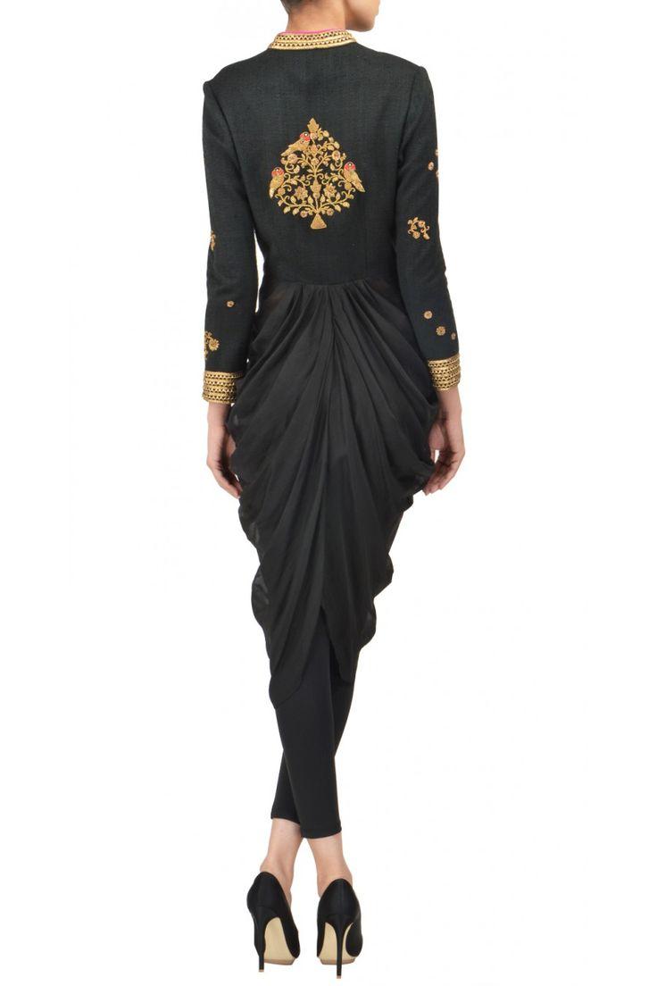 TISHA SAKSENA Black raw silk and chiffon drape available only at Pernia's Pop Up Shop.