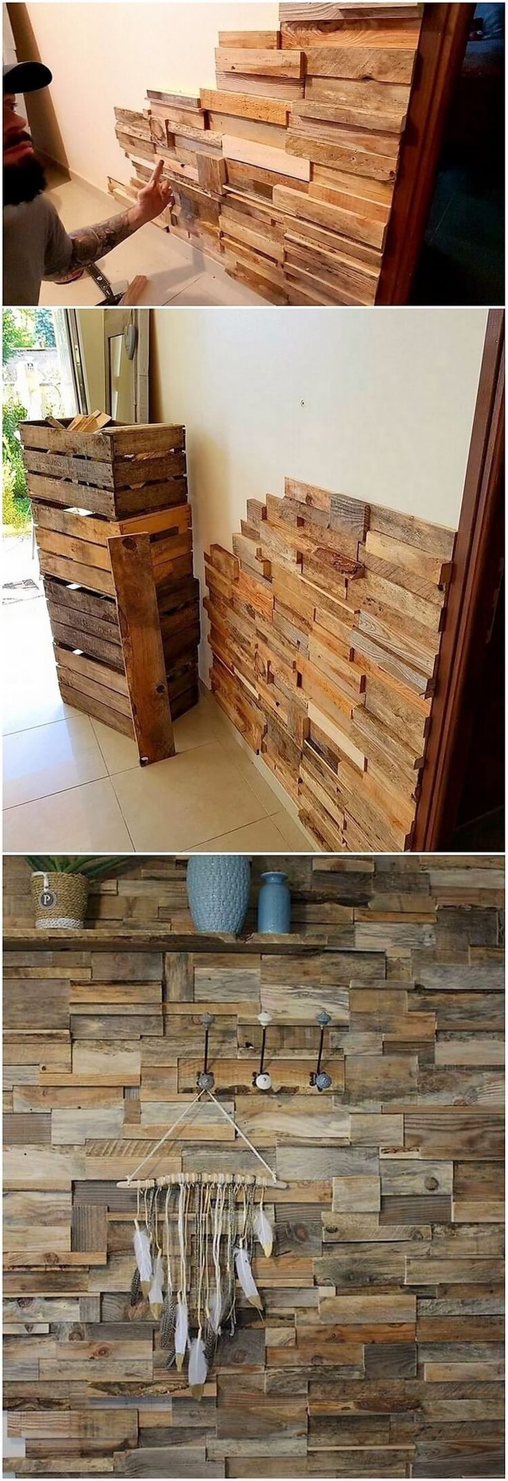 How about having your house all wall decorated with this amazing pallet piece! This creation of the pallet has been outstanding finished with the modish and yet the elegant working modes that is bringing it turning out to be an inspiring thing created from wood pallet.