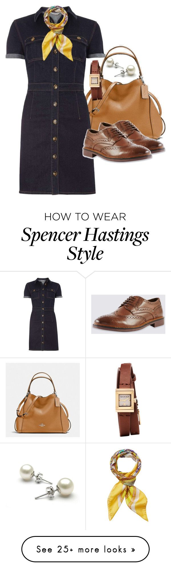 """""""Spencer Hastings Inspired"""" by smirnova-varya on Polyvore featuring Coach, Dorothy Perkins, Versace, Gucci, PrettyLittleLiars, pll and spencerhastings"""